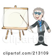 Royalty Free RF Clipart Illustration Of A Happy Businessman Holding A Pointer Stick To A Board