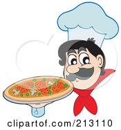 Royalty Free RF Clipart Illustration Of A Friendly Chef Holding A Supreme Pizza by visekart