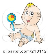 Royalty Free RF Clipart Illustration Of A Baby Boy Sitting And Playing With A Rattle