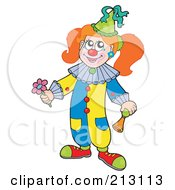 Royalty Free RF Clipart Illustration Of A Female Clown Girl Holding A Flower