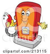 Royalty Free RF Clipart Illustration Of A Happy Gas Pump Holding A Nozzle