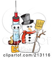 Royalty Free RF Clipart Illustration Of A Medical Syringe Mascot Character By A Snowman