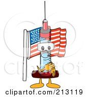Royalty Free RF Clipart Illustration Of A Medical Syringe Mascot Character Pledging Allegiance To The American Flag