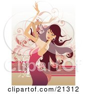 Clipart Illustration Of A Beautiful Caucasian Woman With Long Hair Wearing A Pink Dress And Moving Her Arms Above Her Head While Dancing by OnFocusMedia #COLLC21312-0049
