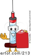 Medical Syringe Mascot Character Holding A Red Tag