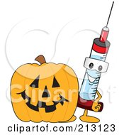 Royalty Free RF Clipart Illustration Of A Medical Syringe Mascot Character By A Halloween Pumpkin
