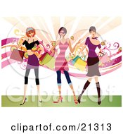 Clipart Illustration Of Three Rich Caucasian Women Dressed In Stylish Clothing Carrying Shopping Bags And Purses And Shopping