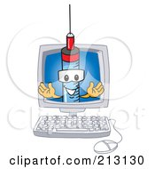 Royalty Free RF Clipart Illustration Of A Medical Syringe Mascot Character In A Computer Screen