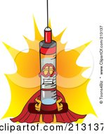 Royalty Free RF Clipart Illustration Of A Medical Syringe Mascot Character Super Hero