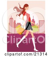 Clipart Illustration Of A Pretty Caucasian Woman In A Mini Skirt And Boots Carrying A Purse And Shopping Bags While Touring A City