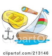 Royalty Free RF Clipart Illustration Of A Digital Collage Of Nautical Items