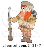Royalty Free RF Clipart Illustration Of A Male Hunter Trapper Carrying A Weapon by visekart