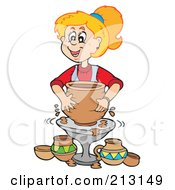 Poster, Art Print Of Blond Girl Using A Pottery Wheel