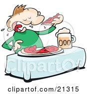 Clipart Illustration Of A Hungry Man Eating A Whole Pizza Pie And Chugging Beer At A Table