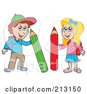Royalty Free RF Clipart Illustration Of A Digital Collage Of School Children With Pencils by visekart