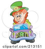 Royalty Free RF Clipart Illustration Of A Happy Leprechaun Driving A Purple Car With A Shamrock On The Grill by visekart