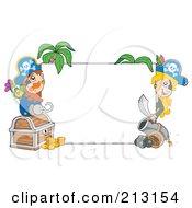 Male And Female Pirates Peeking Around A Blank Sign