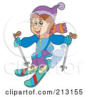 Royalty Free RF Clipart Illustration Of A Happy Man Skiing by visekart