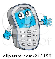 Royalty Free RF Clipart Illustration Of A Friendly Cell Phone Waving