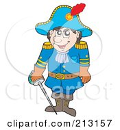 Royalty Free RF Clipart Illustration Of A Male Soldier In A Blue Uniform by visekart