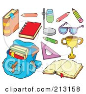 Royalty Free RF Clipart Illustration Of A Digital Collage Of Back To School Items