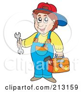 Royalty Free RF Clipart Illustration Of A Happy Repair Man Holding Tools