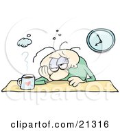 Clipart Illustration Of An Employed Man Sulking At His Desk With A Hangover Or A Depression With A Cup Of Coffee In Front Of Him by gnurf