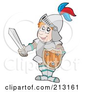 Royalty Free RF Clipart Illustration Of A Happy Knight Holding Shield And Sword by visekart