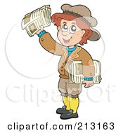 Royalty Free RF Clipart Illustration Of A Paper Boy Smiling And Holding Up A Newspaper