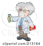 Royalty Free RF Clipart Illustration Of A Senior Scientist Holding A Test Tube by visekart