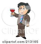 Royalty Free RF Clipart Illustration Of A Happy Man Toasting With Red Wine