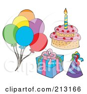 Royalty Free RF Clipart Illustration Of A Digital Collage Of Birthday Items 2