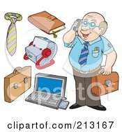 Royalty Free RF Clipart Illustration Of A Digital Collage Of A Business Man And Office Items