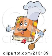 Royalty Free RF Clipart Illustration Of A Happy Cook Book Wearing A Hat And Holding A Spoon by visekart