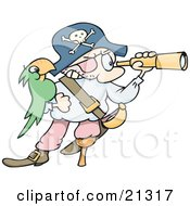 Pirate Man In A Jolly Roger Hat Peering Through A Telescope His Green Parrot On His Arm