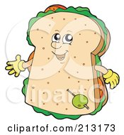 Royalty Free RF Clipart Illustration Of A Happy Sandwich