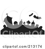 Royalty Free RF Clipart Illustration Of Silhouetted Bats Over A Graveyard