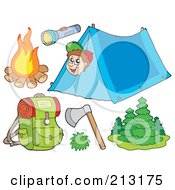 Royalty Free RF Clipart Illustration Of A Digital Collage Of A Camping Boy And Camping Items by visekart