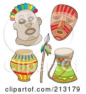 Royalty Free RF Clipart Illustration Of A Digital Collage Of Tribal Masks And Items by visekart
