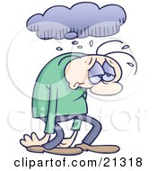 Clipart Illustration Of A Sad And Depressed Gloomy Man Sulking And Walking Under A Rain Cloud