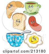 Royalty Free RF Clipart Illustration Of A Digital Collage Of Breakfast Foods by visekart