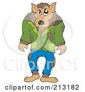 Royalty Free RF Clipart Illustration Of A Walking Werewolf