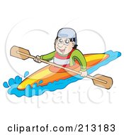 Royalty Free RF Clipart Illustration Of A Happy Male Kayaker