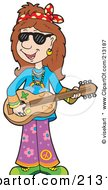 Royalty Free RF Clipart Illustration Of A Hippie Woman Musician by visekart
