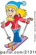 Royalty Free RF Clipart Illustration Of A Happy Woman Skiing by visekart