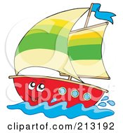 Royalty Free RF Clipart Illustration Of A Happy Sailboat Character by visekart