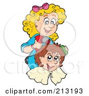 Royalty Free RF Clipart Illustration Of A Happy Hair Stylist Woman Working