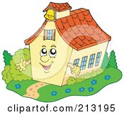 Royalty Free RF Clipart Illustration Of A Happy School House Waving by visekart