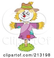 Royalty Free RF Clipart Illustration Of A Smiling Scarecrow On A Stick by visekart