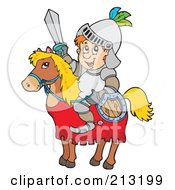 Royalty Free RF Clipart Illustration Of A Happy Knight On A Horse Holding Shield And Sword